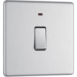 BG BG Screwless Flat Plate Brushed Stainless Steel 20A DP Switch Switch & Neon - 85449 - from Toolstation