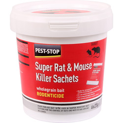 Pest-Stop Pest-Stop Mouse & Rat Killer Sachets Wholegrain Bait 6 x 25g - 85490 - from Toolstation