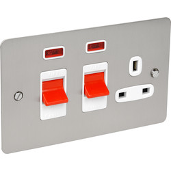 Flat Plate 45A DP Switch & 13A Switched Socket Neon - 85535 - from Toolstation