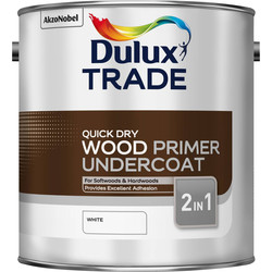 Dulux Trade Quick Dry Wood Primer Undercoat Paint White 2.5L
