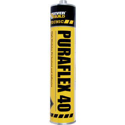 Everbuild Puraflex 40 High Modulus PU Sealant & Adhesive 300ml Black - 85566 - from Toolstation