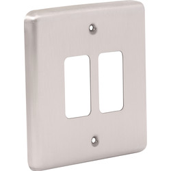 Wessex Wiring Wessex Brushed Stainless Steel Grid Front Plate 2 Gang - 86008 - from Toolstation