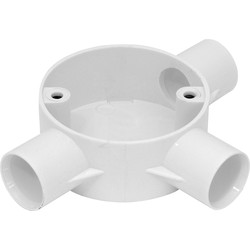 25mm PVC Conduit Box 3 Way Tee Box White - 86196 - from Toolstation