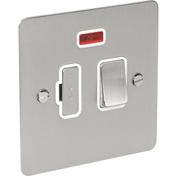 Flat Plate Satin Chrome Fused Spur 13A Switched + Neon - 86204 - from Toolstation