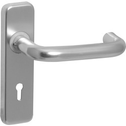 Eclipse Ironmongery Aluminium Round Bar Door Handles Lock Satin - 86504 - from Toolstation