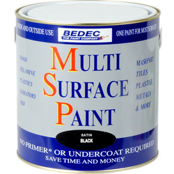 Bedec Multi Surface Paint Satin Black 2.5L