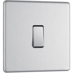 BG BG Screwless Flat Plate Brushed Stainless Steel 10AX Light Switch 1 Gang 2 Way - 86570 - from Toolstation