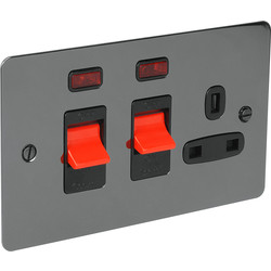 Flat Plate 45A DP Switch & 13A Switched Socket Neon - 86597 - from Toolstation