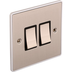 Urban Edge Urban Edge Brushed Chrome Switch 2 Gang 2 Way - 86664 - from Toolstation