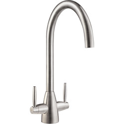 Mono Mixer Kitchen Tap Brushed Steel - 86696 - from Toolstation