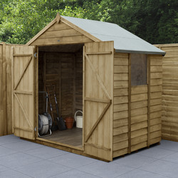 Forest Forest Garden Overlap Pressure Treated Shed - Double Door 7' x 5' - 86900 - from Toolstation