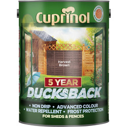 Cuprinol Cuprinol Ducksback Shed & Fence Treatment 5L Harvest Brown - 86982 - from Toolstation