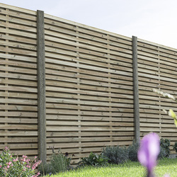 Forest Forest Garden Pressure Treated Contemporary Double Slatted Fence Panel 6' x 6' - 87268 - from Toolstation