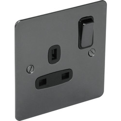 Flat Plate Black Nickel 13A Socket 1 Gang Switched DP - 87419 - from Toolstation