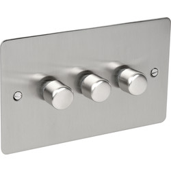 Axiom Flat Plate Satin Chrome Dimmer Switch 400W 3 Gang 2 Way - 87420 - from Toolstation