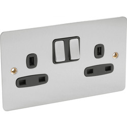Flat Plate Satin Chrome 13A Switched Socket 2 Gang DP