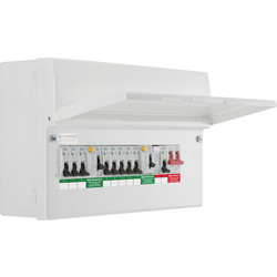 BG BG Metal 18th Edition Dual RCD Type A + 8 MCBs + SPD Consumer Unit 8 Way - 87798 - from Toolstation