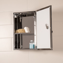 Croydex Lockable Single Door Stainless Steel Bathroom Cabinet