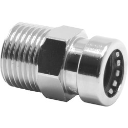 "Pegler Yorkshire Pegler Yorkshire Tectite Sprint Chrome Push-Fit Straight Male Connector 15mm x 1/2"" - 87886 - from Toolstation"