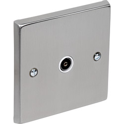 Satin Chrome / White TV / Satellite Socket Outlet TV Single - 87967 - from Toolstation