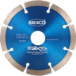 Mexco Mexco General Purpose GPX10-8 Diamond Blade 115 x 22.3mm - 88180 - from Toolstation