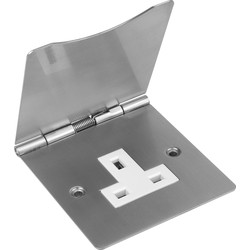 Floor Socket Single Satin Chrome - 88192 - from Toolstation