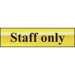 Brass Effect Door Sign Staff Only - 88211 - from Toolstation