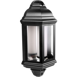 LED PIR IP44 Half Lantern 7W Black 540lm - 88298 - from Toolstation