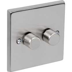 Satin Chrome Dimmer Switch 250W 2 Gang 1 Way - 88401 - from Toolstation