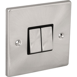 Click Deco Click Deco Satin Chrome Switch 10A 2 Gang 2 Way - 88690 - from Toolstation