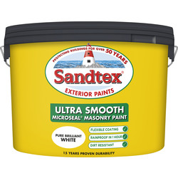 Sandtex Ultra Smooth Masonry Paint 10L Pure Brilliant White