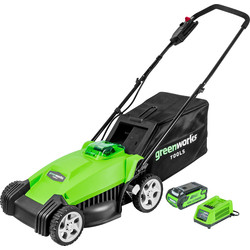 Greenworks 40V Li-Ion Cordless Rotary Lawnmower with Battery & Charger