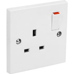 Axiom Switched Socket 1 Gang Single Pole