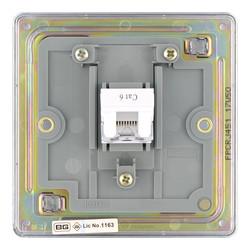 BG Screwless Flat Plate Polished Chrome RJ45 Outlet
