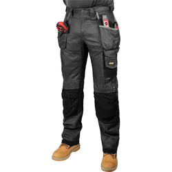 "Snickers Workwear Snickers 3212 DuraTwill Holster Pocket Trousers 36"" R (052) Grey - 88853 - from Toolstation"