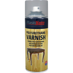 Plastikote Polyurethane Varnish Clear Spray Paint 400ml Gloss - 89127 - from Toolstation