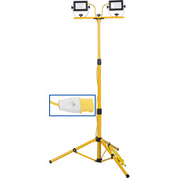 LED Twin Tripod Work Light IP65 110V 2x20W 2x2000lm - 89539 - from Toolstation