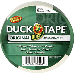 Duck Tape Duck Cloth Duct Tape White 50mm x 25m - 89629 - from Toolstation
