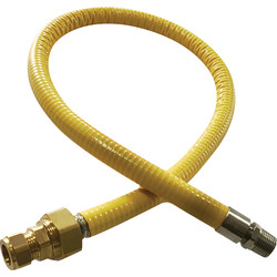 "Midbrass Salvus Hob Mate Connecting Hose 1m x 1/2"" BSPT Male"