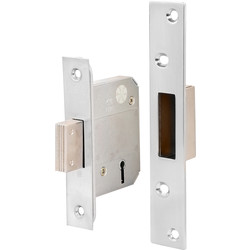 BS 5 Lever Mortice Deadlock 64mm Satin Chrome