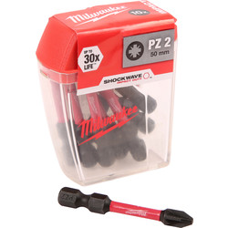 Milwaukee Shockwave Impact Screwdriver Bits PZ2 x 50mm