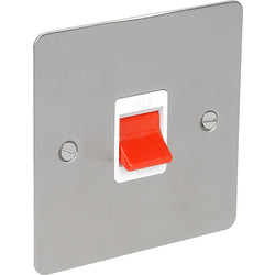 Flat Plate Satin Chrome 45A DP Switch  - 90383 - from Toolstation