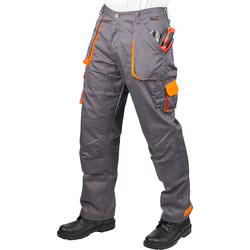 "Portwest Texo Contrast Trousers 36""-38"" R Grey/Orange - 90426 - from Toolstation"