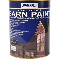 Bedec Bedec Barn Paint Matt Black 5L - 90433 - from Toolstation