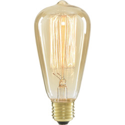 Inlight ST64 Vintage Incandescent Decorative Dimmable Lamp 40W ES (E27) Tinted 140lm - 90512 - from Toolstation