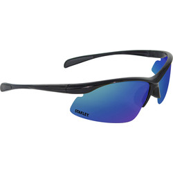 Stanley 10-Base Curved Half-Frame Safety Glasses Blue Mirror