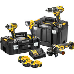 DEWALT 18V XR Brushless Combi Drill, Impact Driver, Grinder & Torch 4 Piece Kit 3 x 4.0Ah