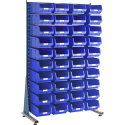 Barton Barton Steel Louvre Panel Starter Stand with Blue Bins 1600 x 1000 x 500mm with 40 TC4 Blue Bins - 91021 - from Toolstation
