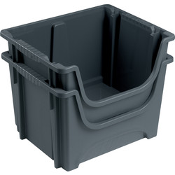 Barton Space Saving 50L Container Grey 320 x 495 x 390mm - 91269 - from Toolstation