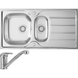 Stainless Steel Large Kitchen Sink & Drainer With Single Lever Mixer Tap Pack 1 1/2 Bowl 965mm x 500mm x 160mm - 91323 - from Toolstation